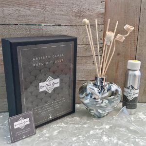 Mouth Blown Reed Diffuser Blown Galactic Grey Pearlescent Heart and Gift Box Display